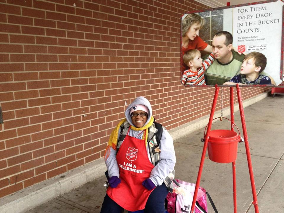 Denise Jackson, a Salvation Army bell ringer, outside the Stop & Shop at Vinnin Square in Swampscott.
