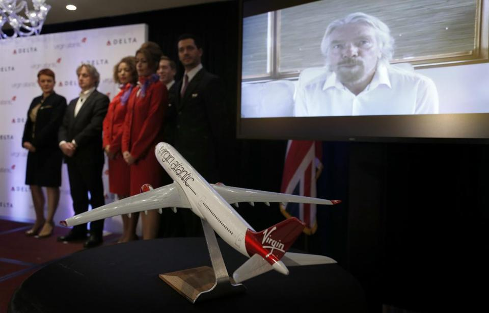 Virgin Atlantic's Richard Branson spoke during a teleconference Tuesday. He will still own more than half of the British airline after the deal with Delta.