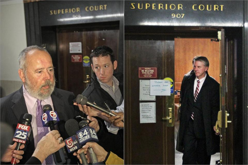 John Amabile, lawyer for Dwayne Moore, who is accused of killing four people, spoke with reporters outside Courtroom 906 Monday in Suffolk Superior Court. Last week, former state treasurer Timothy P. Cahill (right) left Courtroom 907, where he is being tried on white-collar crime charges.