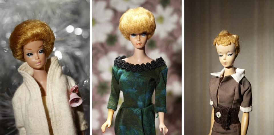 """Debbie's Barbies"" are photographs of Debbie Klein's childhood dolls dressed in stylish outfits that her mother, Mabel Wilcox, made for them."