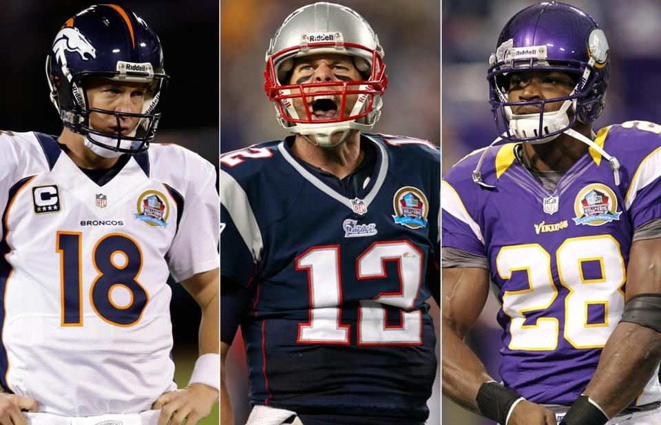 Broncos QB Peyton Manning, Patriots QB Tom Brady, and Vikings RB Adrian Peterson, left to right, are prime candidates to win the NFL's MVP award.