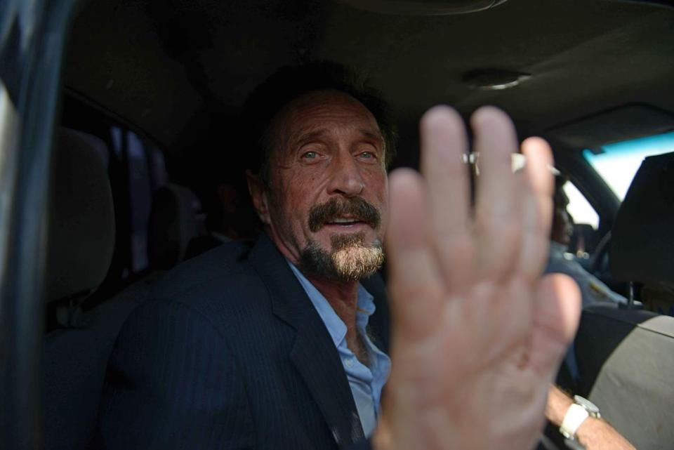John McAfee arrived at Aurora airport in Guatemala City on Wednesday. He landed in Miami Wednesday night.