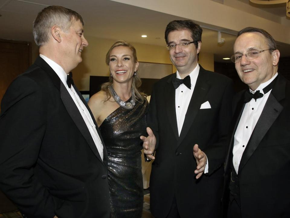 International School of Boston chairman Patrick Hamilton, party committee member Laurence Honan, French Ambassador François Delattre , and head of the school Richard Blumenthal at the gala.