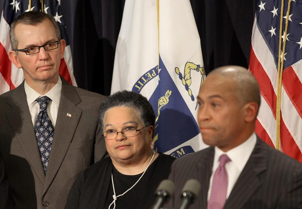 Governor Deval Patrick said that he had asked members of his Cabinet to commit to serve for two years or leave the administration in order to maintain continuity. Among those leaving is Health and Human Services Secretary JudyAnn Bigby, who appeared alongside Patrick at the State House news conference with her replacement, John Polanowicz