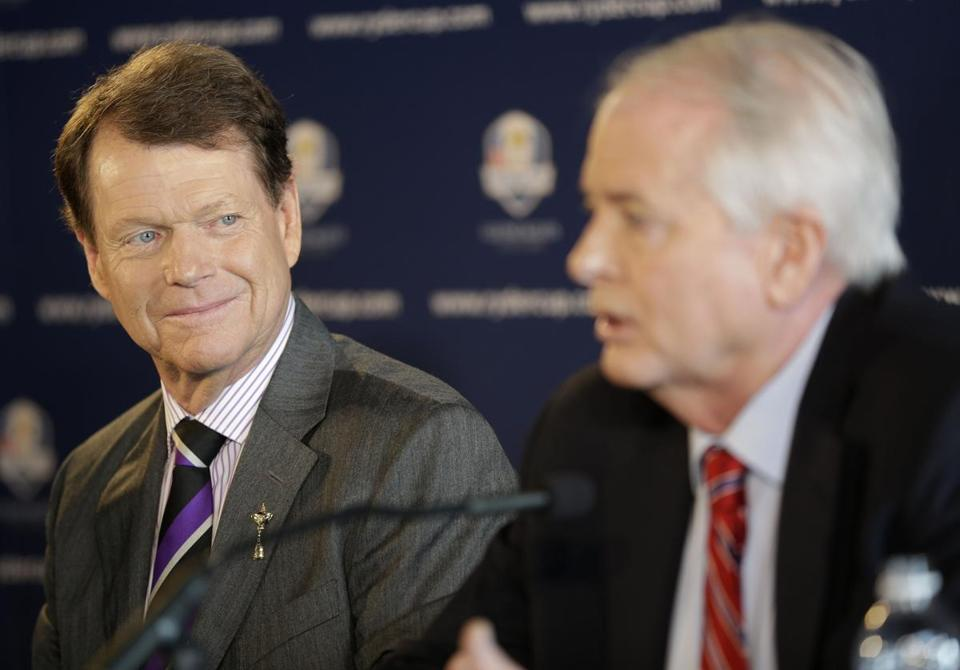 PGA of America president Ted Bishop, right, introduced Tom Watson as the next Ryder Cup captain on Thursday.