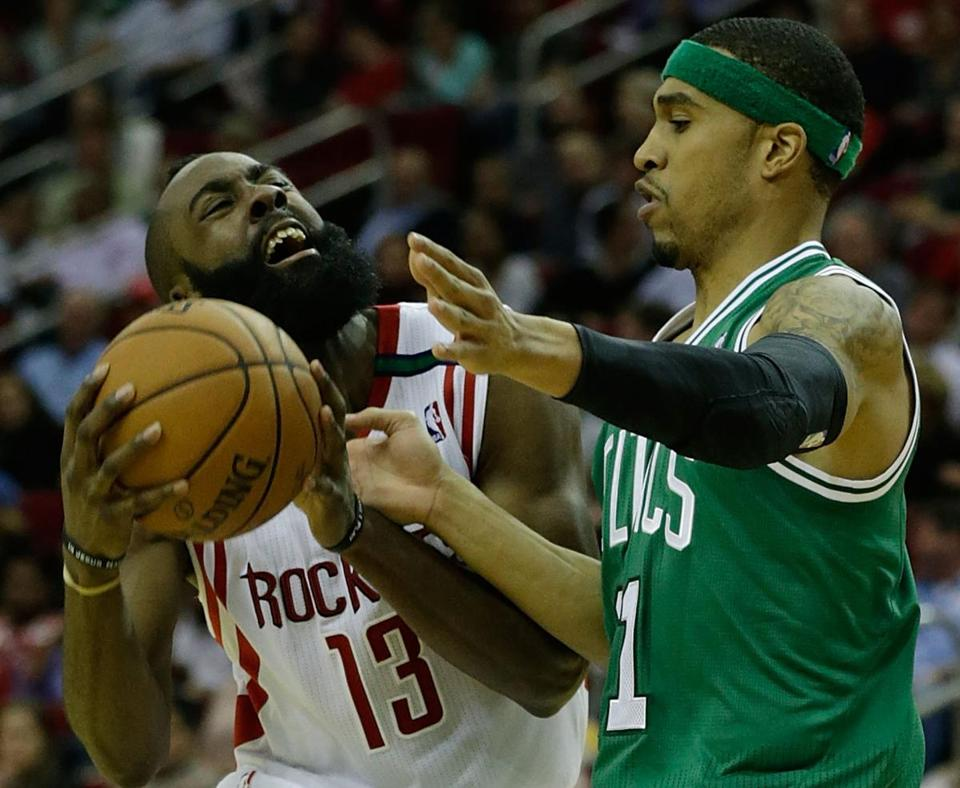 Courtney Lee of the Celtics defended James Harden, who had 21 points, five assists and five rebounds for the Rockets.