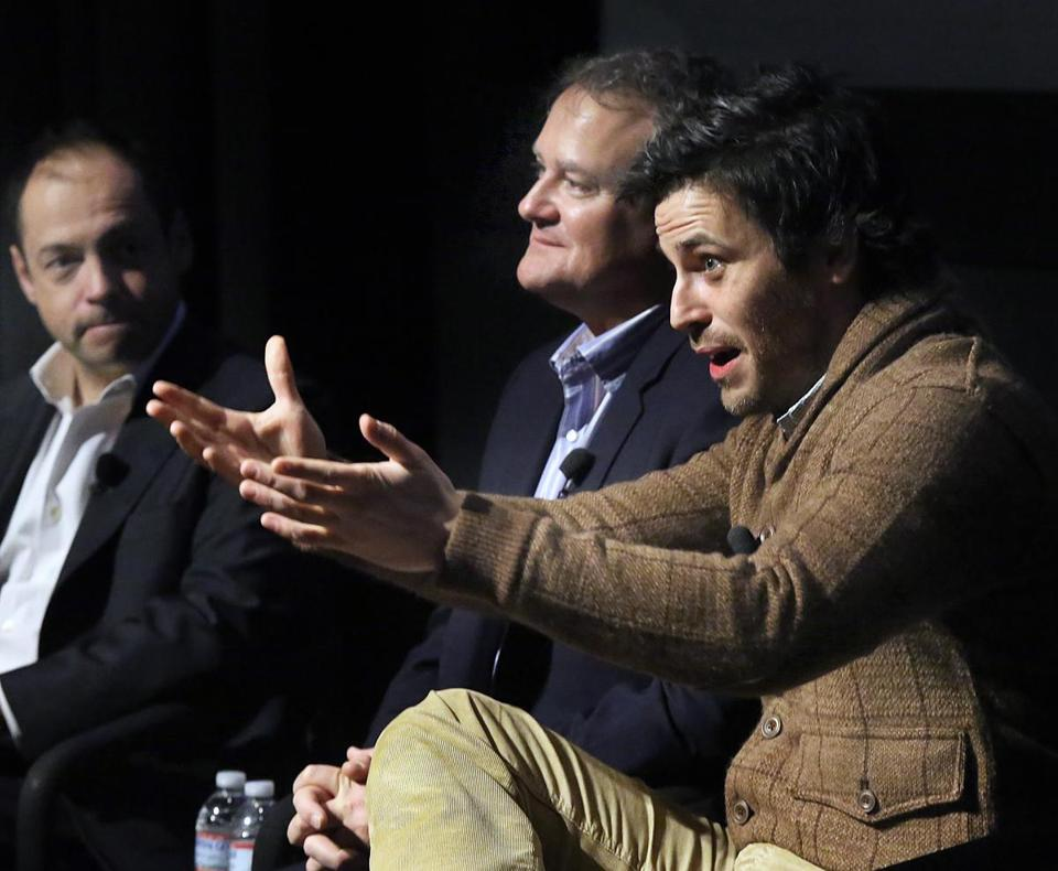 "From left: ""Downton Abbey"" executive producer Gareth Neame and cast members Hugh Bonneville and Rob James-Collier."