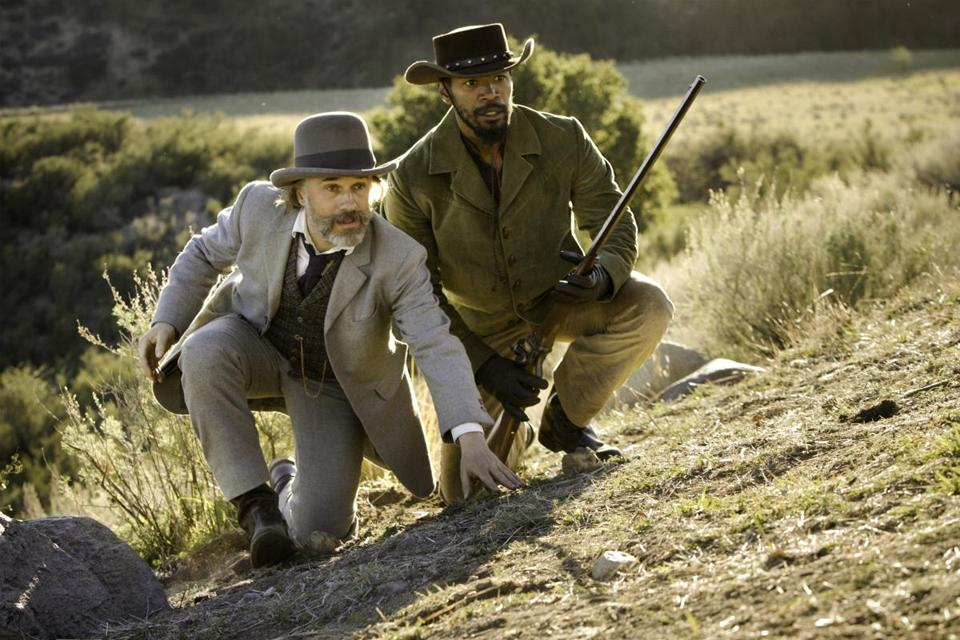 "Christoph Waltz (left) and Jamie Foxx in ""Django Unchained."""