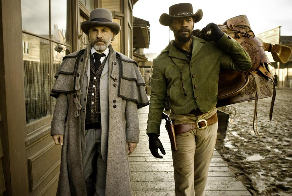 "Christoph Waltz (left) and Jamie Foxx in Quentin Tarantino's ""Django Unchained."""