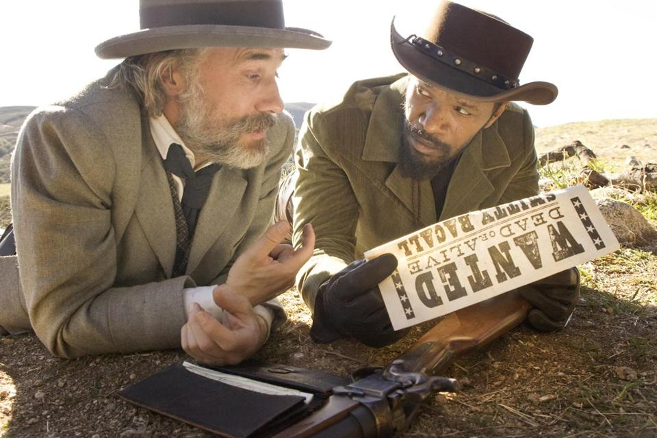 "Christoph Waltz (left) and Jamie Foxx in ""Django Unchained,"" written and directed by Quentin Tarantino."