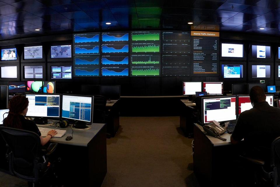Inside the Network Operations Command Center, or NOCC, at Akamai's headquarters in Cambridge.