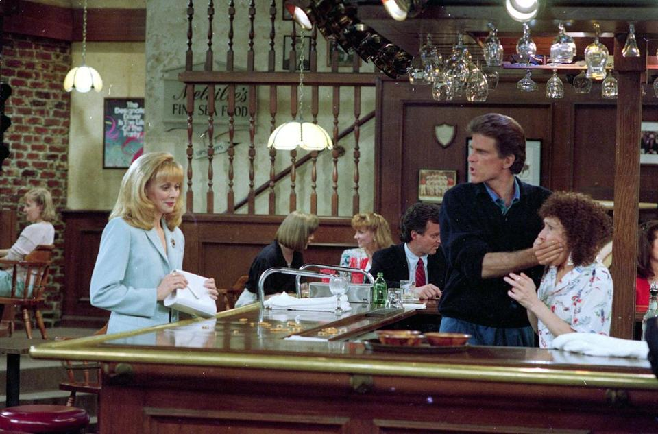 "Shelley Long (left), Ted Danson, and Rhea Perlman in the original ""Cheers.''"