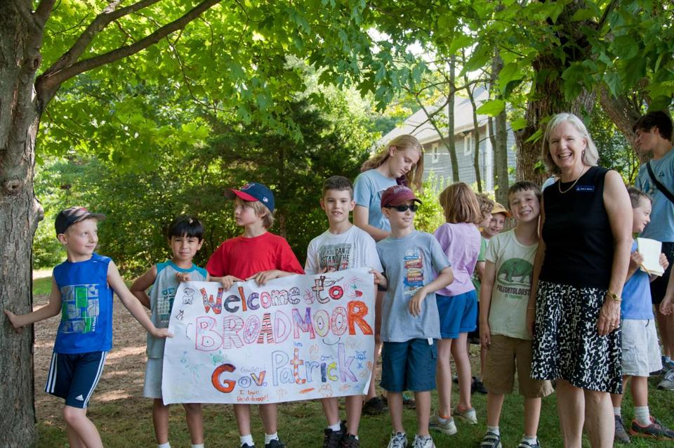 Laura Johnson (right) with some young campers at Mass Audubon's Broadmoor Wildlife Sanctuary in Natick.