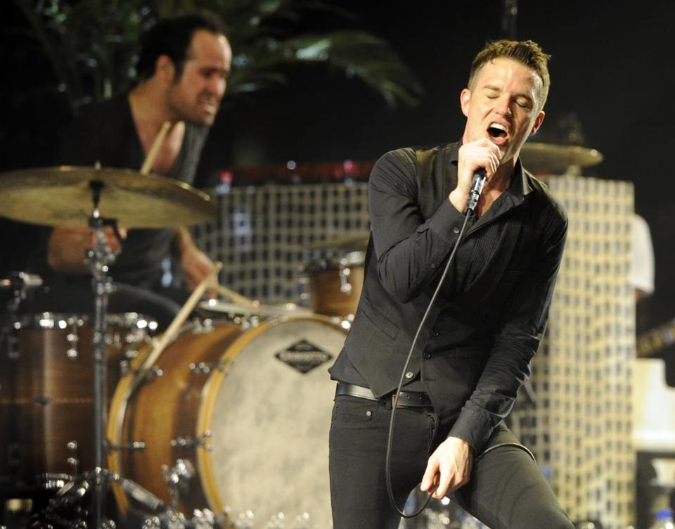 Brandon Flowers (pictured performing in California) has battled laryngitis recently.