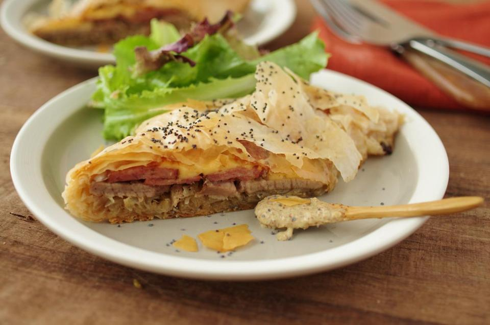 Savory pork and sauerkraut strudel