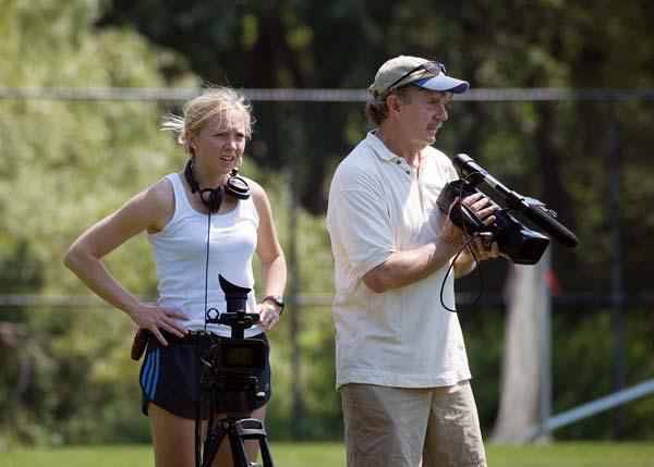 Liz Clancy Lerner and her father, Jack Clancy, during filming of their documtary.