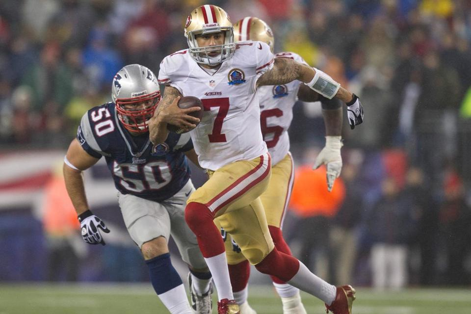 Patriots' Rob Ninkovich, who had a solid game, had his eyes set on Colin Kaepernick.