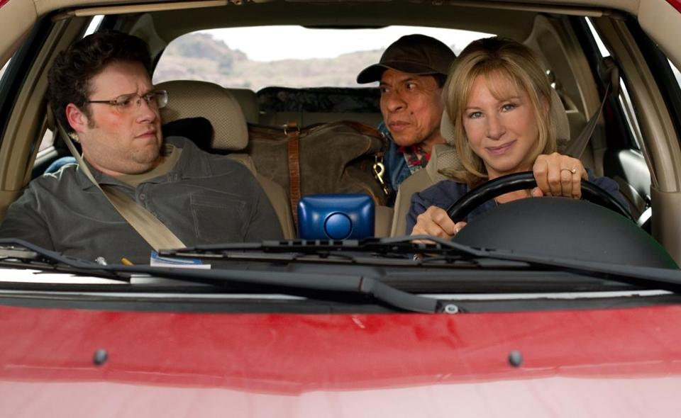 "Seth Rogen (left), Pedro Lopez, and Barbra Streisand in ""The Guilt Trip."""