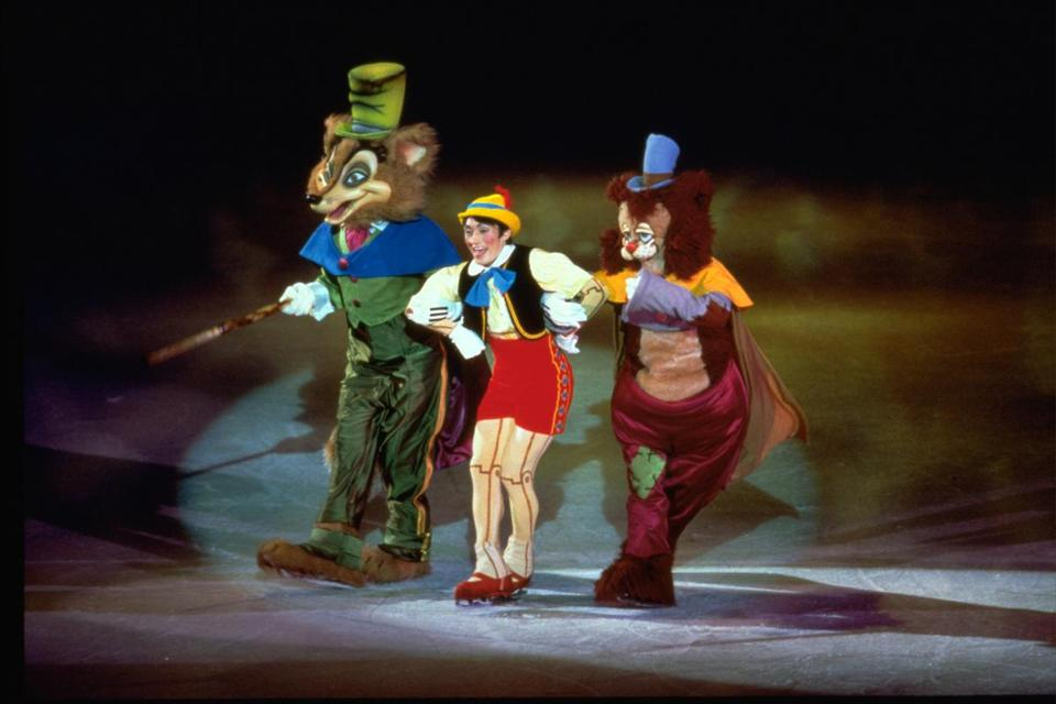 "Scenes from the Disney classic ""Pinocchio"" and a century of other movies swirled across the ice at TD Garden."