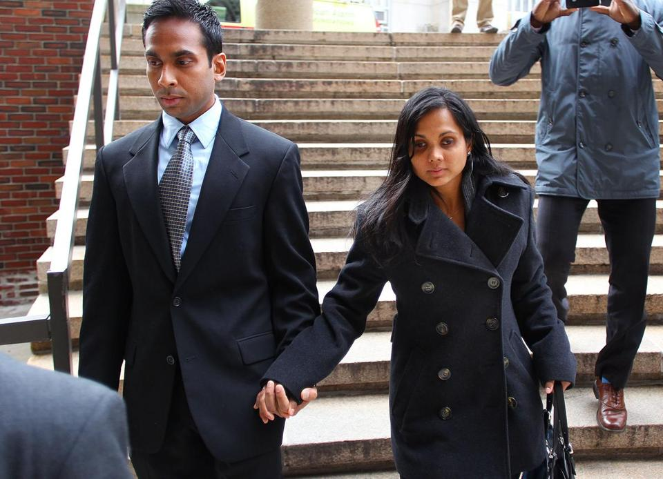 Former state chemist Annie Dookhan left Suffolk Superior Court with her husband, Surrendranath Dookhan, on Thursday.