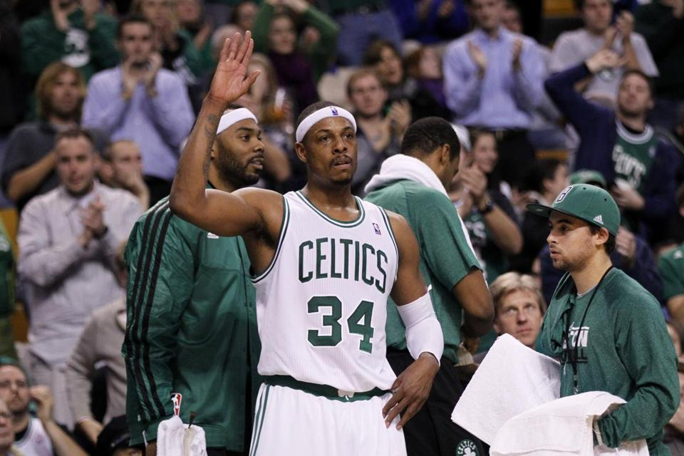 Paul Pierce acknowledged cheers from the TD Garden crowd late in the Celtics' win.