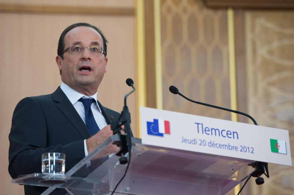 French President Francois Hollande delivered a speech after being awarded doctor honoris causa at the university in Tlemcen on the second day of his two-day official visit to Algeria Thursday.