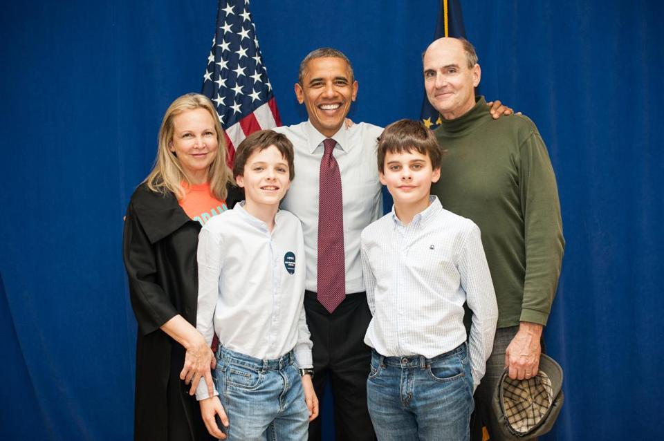 President Obama and the Taylors (from left), Kim, Henry, Rufus, and James. The Taylor parents sang at holiday fetes in the capital.