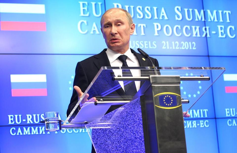 Russia's President Vladimir Putin addresses the media, at the end of the EU-Russia summit Friday.