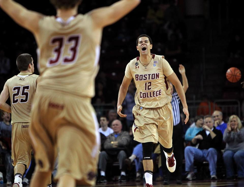 Boston College forward Ryan Anderson lets out a celebratory scream after his late bucket ensured the Eagles' win over former Big East rival Providence.