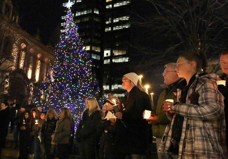 Boston's Copley Square was the site of a candlelight vigil to commemorate victims of the Newtown, Conn. school shooting.