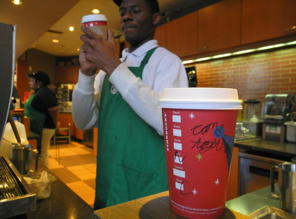 "Starbucks stirred the political pot by urging Washington baristas to write ""come together"" on its cups."