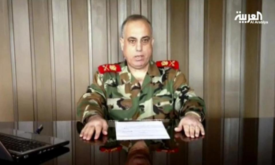 "Major General Abdul-Aziz Jassem al-Shallal announced his move in a video, saying that he defected because of the military's ""transformation into gangs of killing and destruction."""