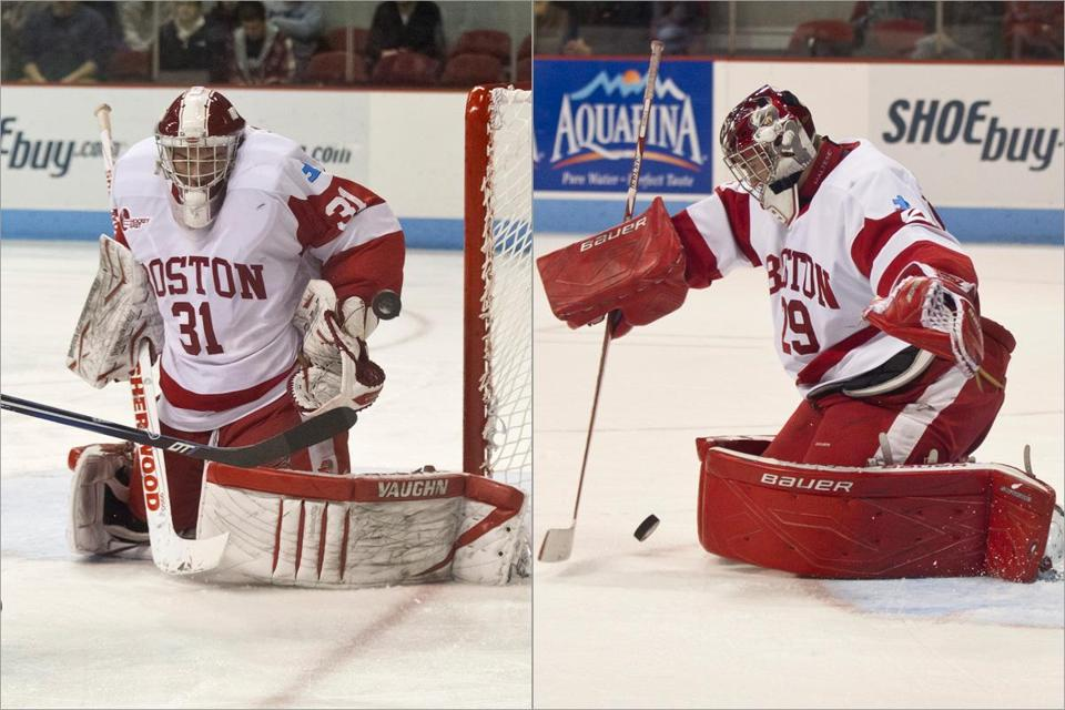 BU first-year goaltenders Sean Maguire (left) and Matt O'Connor have been a splendid combination.
