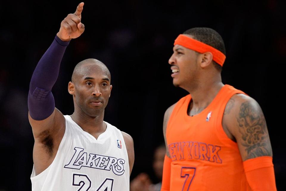 Christmas wasn't very merry on the court for New York's Carmelo Anthony (right) as the Knicks fell to Kobe Bryant and the Lakers.