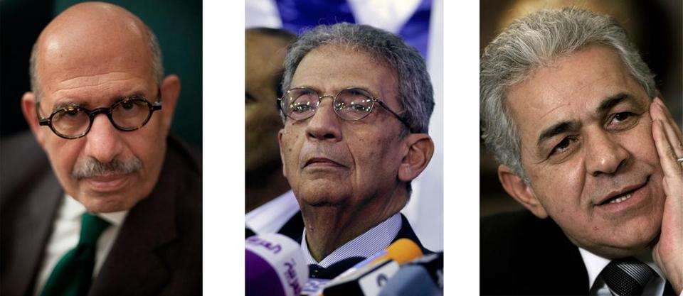 Some backers of Egyptian President Mohammed Morsi contend opposition leaders — from left, Mohammed ElBaradei, Amr Moussa, and Hamdeen Sabahi — incited protesters to overthrow the government.