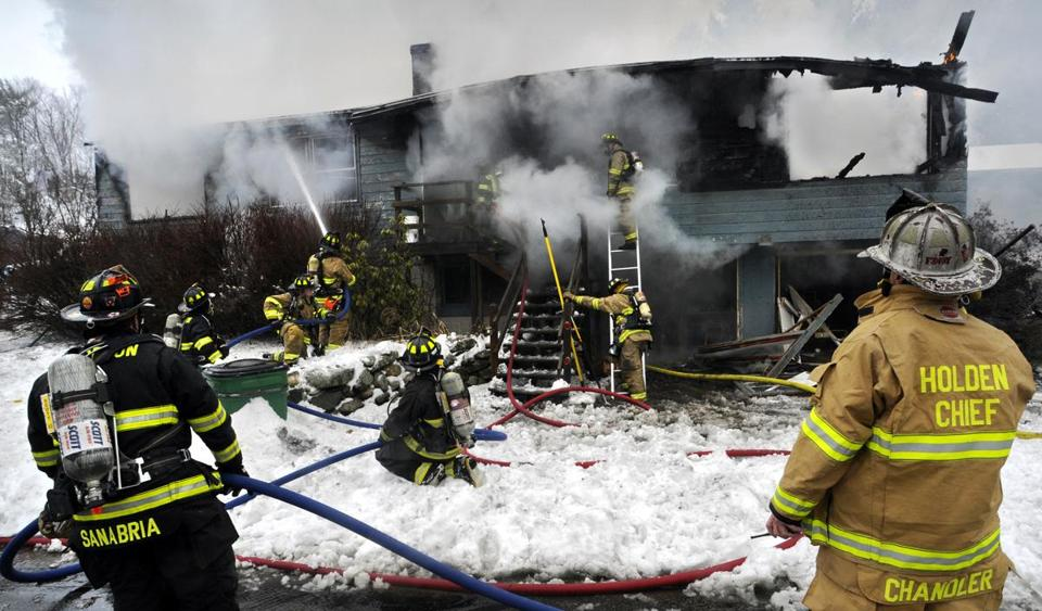 Firefighters from several area towns battled a multialarm fire in Princeton that destroyed a home where a man, 61, died.