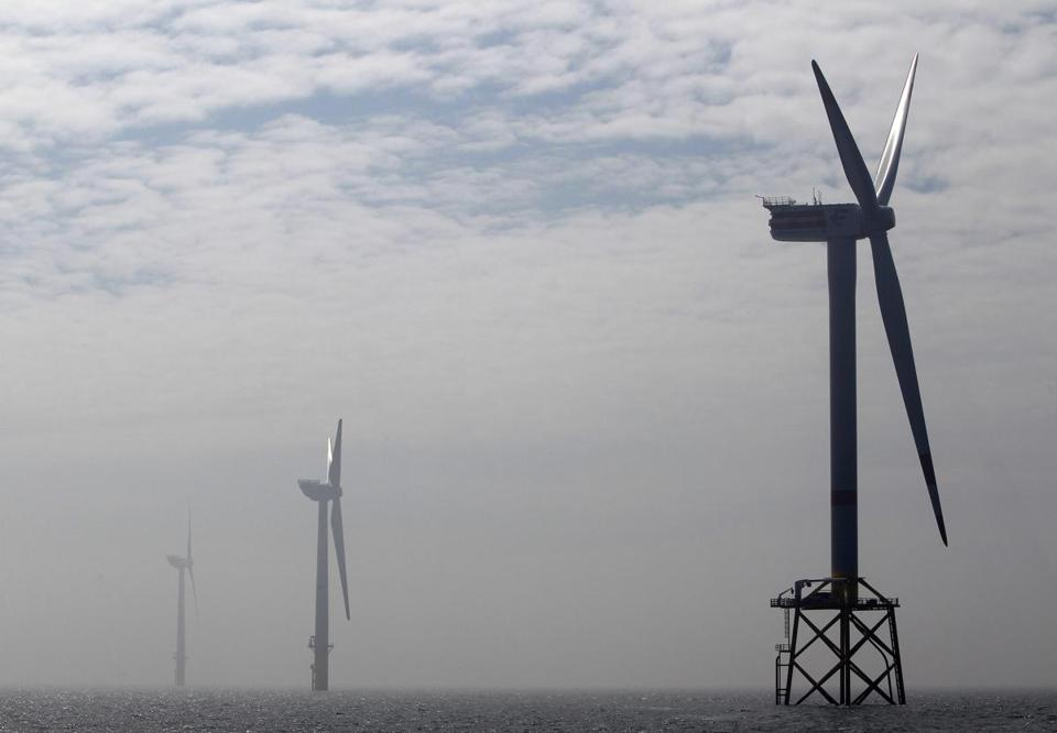 Wind turbines in the North Sea, off the coast of Europe