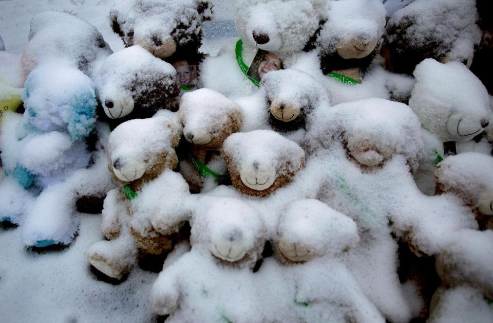 Snow-covered stuffed animals sit at a memorial to victims of the Dec. 14 school shooting in Newtown, Conn. Tuesday. The perpetrator was a mentally ill young man whose mother had reportedly struggled in dealing with him.