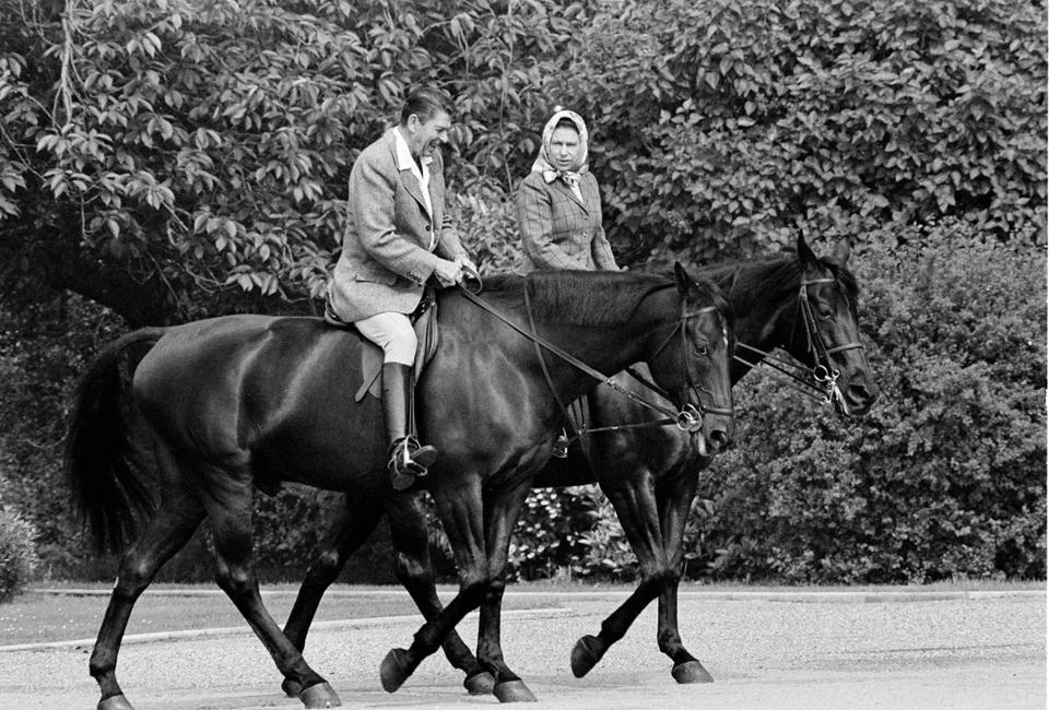 President Reagan went horseback riding with Queen Elizabeth II on the grounds of Windsor Castle in 1982.