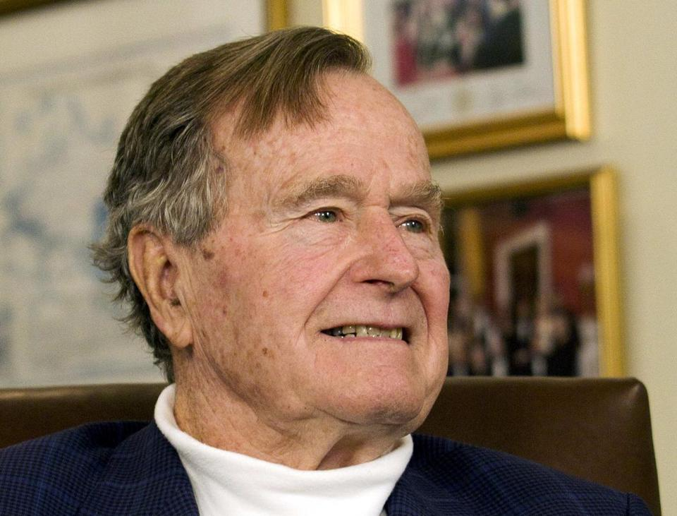 "Former President George H.W. Bush March 29, 2012, file photo. Bush is in intensive care at a Houston hospital in ""guarded condition,"" family spokesman Jim McGrath said Wednesday."