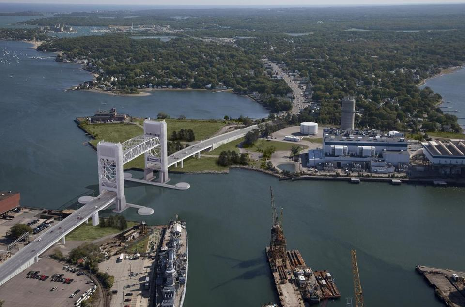 A rendering of the proposed Fore River Bridge between Weymouth and Quincy.