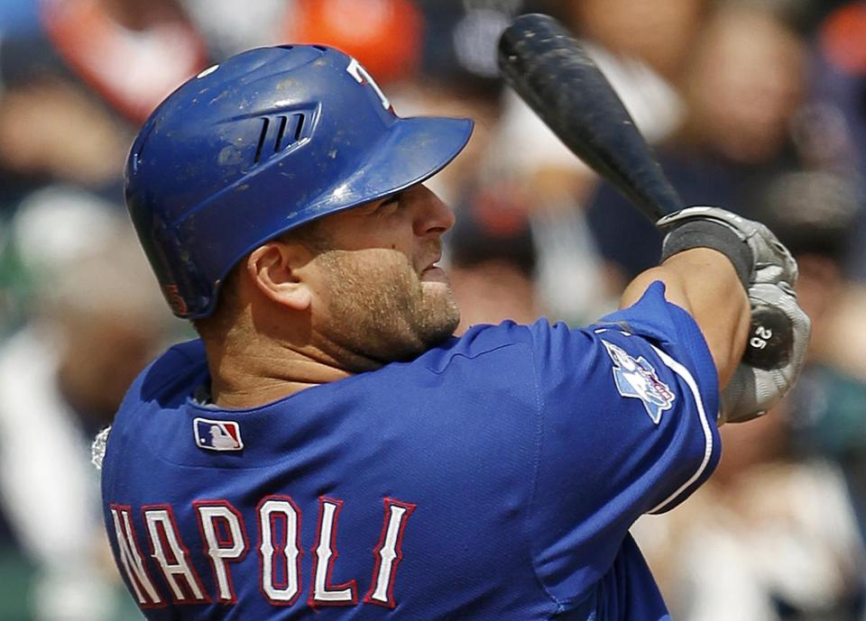 Mike Napoli played with the Texas Rangers last season.