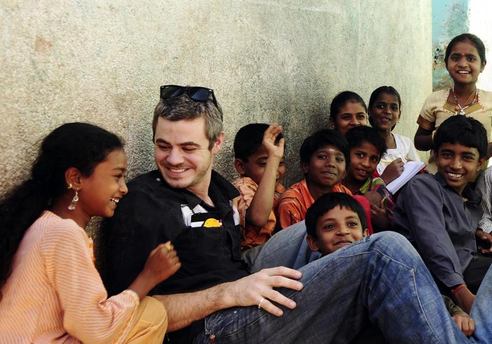 Scott Harrison of Charity: Water spoke with children during a visit for a school water project in India.