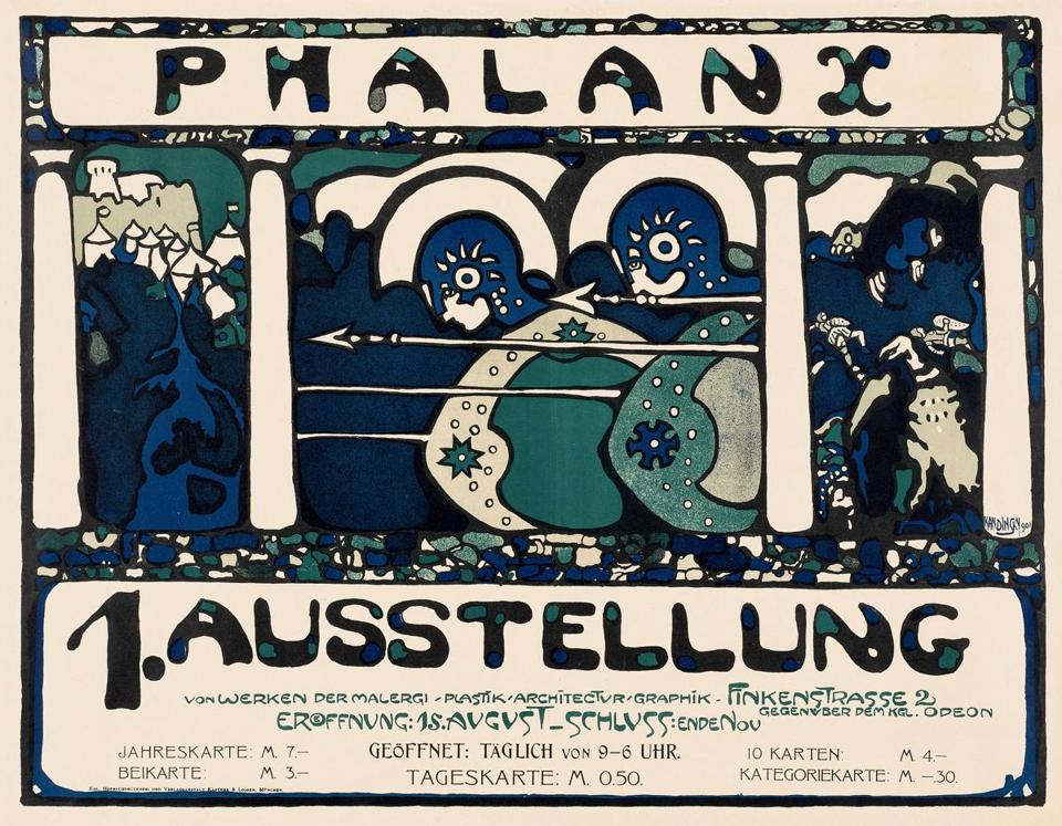 A Wassily Kandinsky poster from 1901 for an exhibition by the Phalanx art group.