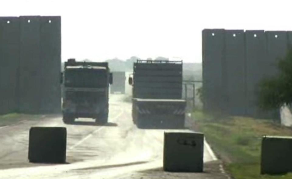 Trucks passed through the Kerem Shalom Crossing at the border of Israel and the southern Gaza Strip.