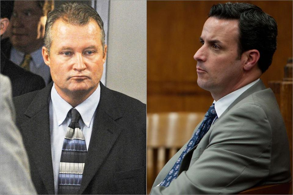 Defense lawyers want separate trials for former state probation commissioner John J. O'Brien (left) and his codefendant, former Treasury aide Scott S. Campbell.