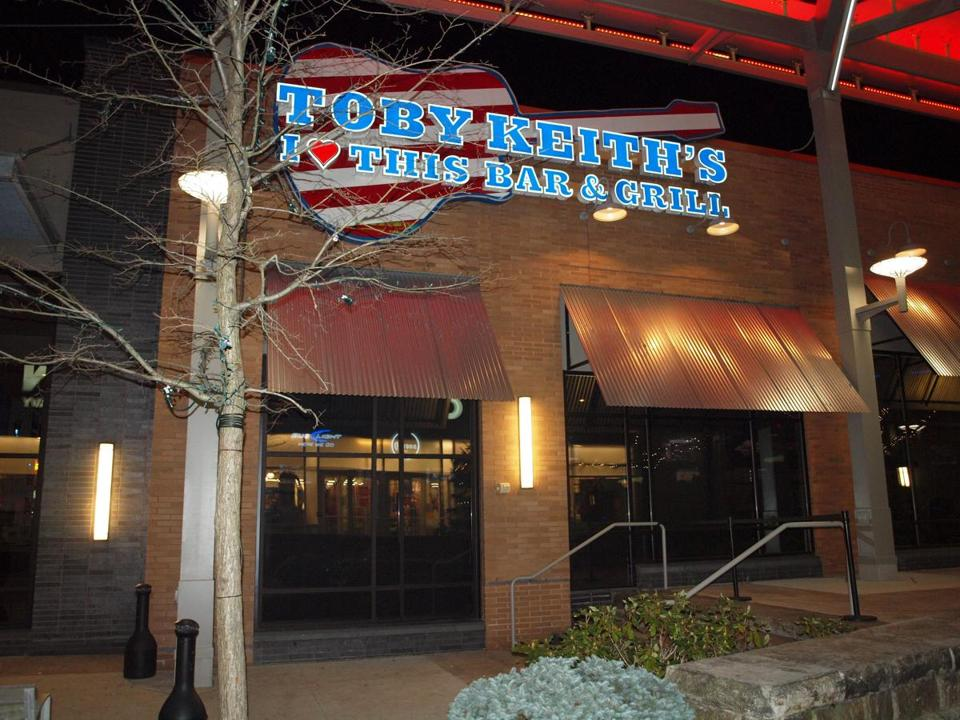 Toby Keith's I Love This Bar & Grill at Patriot Place is a massive bar and restaurant that oozes Southern hospitality.