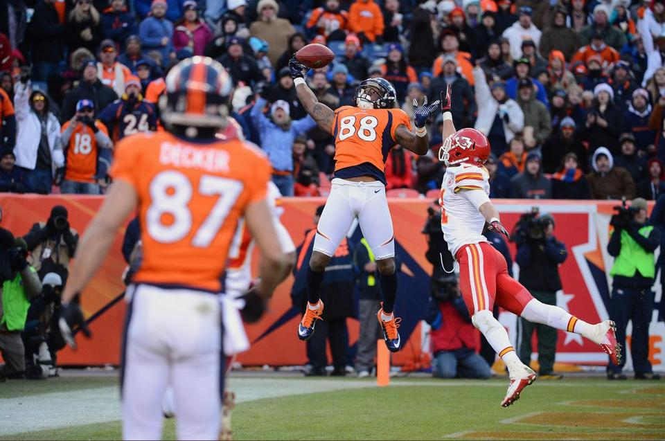 The Broncos' Demaryius Thomas had to really extend himself to bring down this touchdown pass from Peyton Manning.