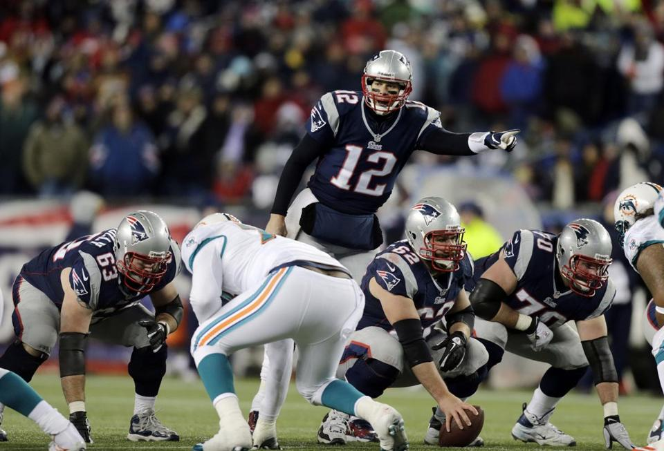 The Patriots offensive line gave up one sack and one hit on Tom Brady by the Dolphins.