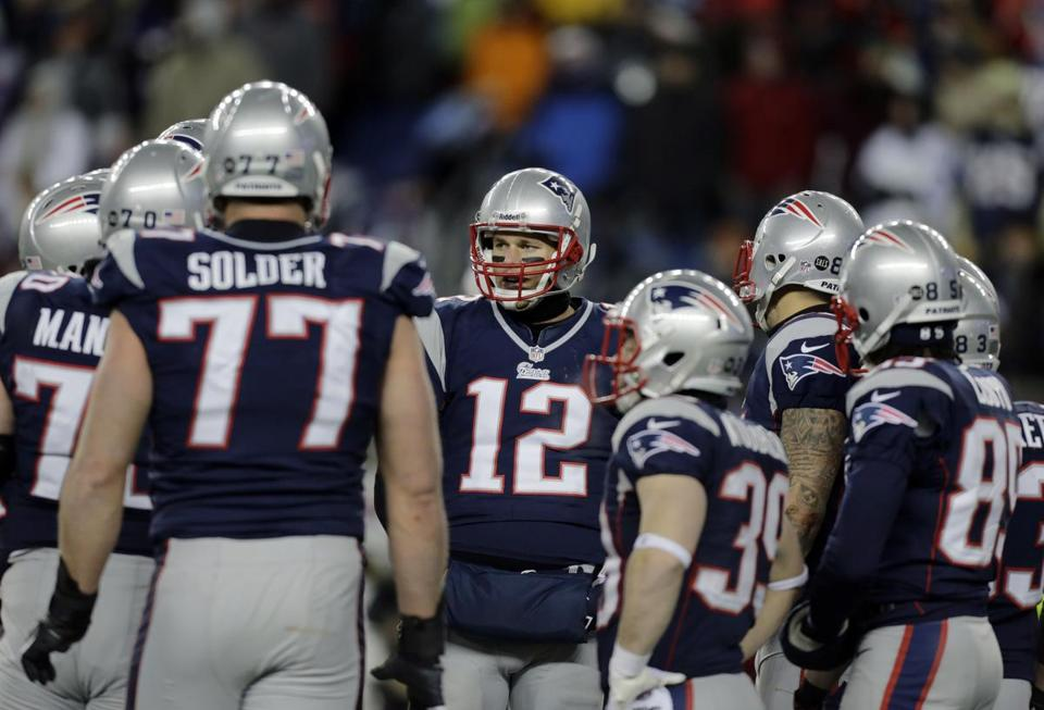 In Sunday's regular-season finale, Tom Brady found his rhythm early because his big boys allowed him the time and space to read the defense.